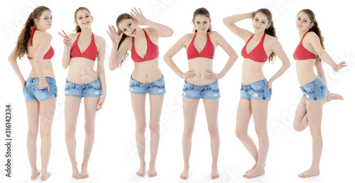 Obraz Teenage girl in bikini and hot pants as a group photo montage in the studio - fototapety do salonu