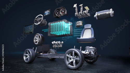 Obraz Disassembled car, Electronic, hydrogen, lithium ion battery echo car. Charging car battery. eco-friendly future car. engine, safety seat, Instrument panel, navigation, Accelerator pedal,  - fototapety do salonu