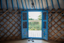 French Doors Open In Yurt