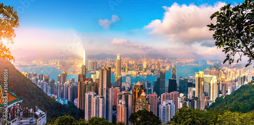 Hongkong skyscraper view from The peak. Wallpaper Mural