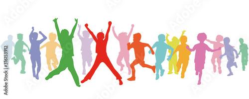 eine Gruppe von Kind laufen und haben Freude, Illustration-Isoliert Slika na platnu