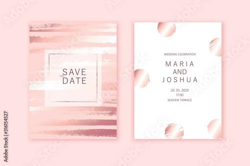 Obraz na plátne Luxury wedding invitation cards with rose gold texture