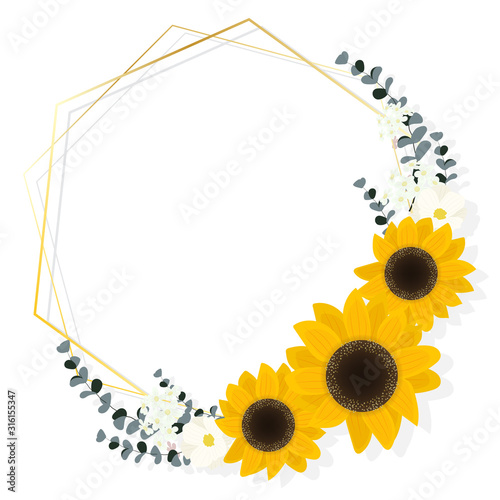 flat style sunflower eucalyptus with golden frame wreath on white background Fototapete