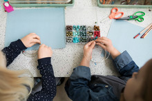 Preschool Girls Making Art And...