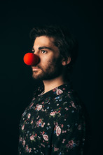 Renaissance Portrait Young Male Millennial Wearing Red Clown Nose