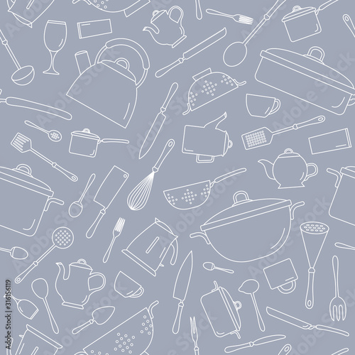 kitchen-dinnerware-background-vector-seamless-pattern-of-knife-plate-spoon-fork-cup-kettle-saucepan-mug-and-ladle-for-graphic-design