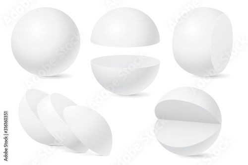 Fotografía Sphere set. Whole and cut in pieces. White templates