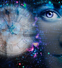 Female Artistic Portrait And Watch In Outer Space
