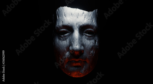 Photo Concept of mistic mask or face. 3d illustration