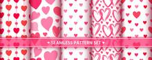 Heart Seamless Pattern Set Love Valentine Romantic
