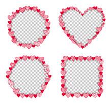 Valentine Heart Frame Transparent Vector Template