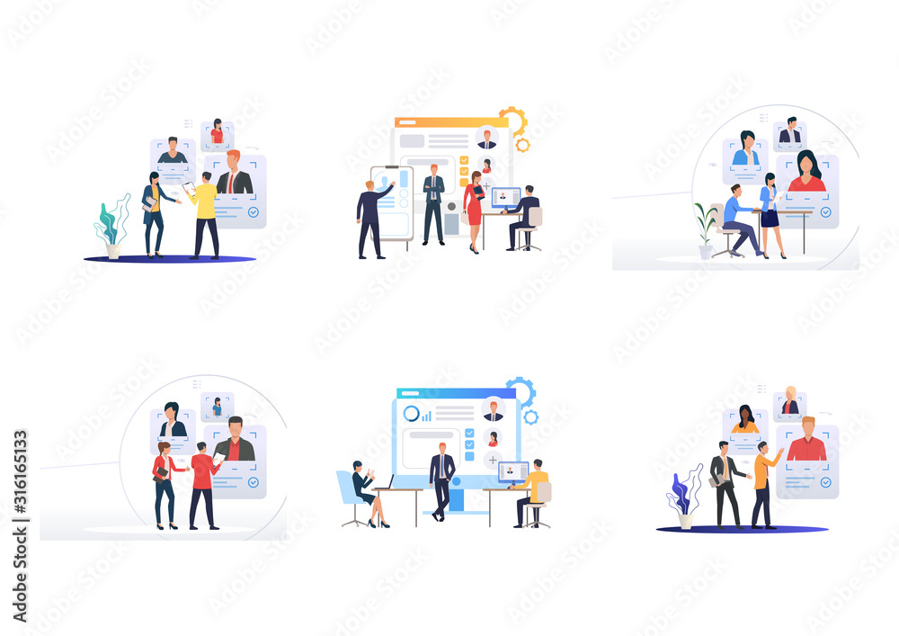Fototapeta Personnel selection set. Managers studying applicants CV online. Flat vector illustrations. Hiring, human resource, recruiting agency concept for banner, website design or landing web page