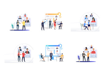 Personnel selection set. Managers studying applicants CV online. Flat vector illustrations. Hiring, human resource, recruiting agency concept for banner, website design or landing web page