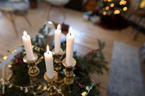 Advent candles in Christmas living room