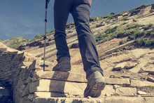 Low Angle View Of Hikin Boots ...