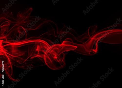 Obraz Red smoke on black background, fire design - fototapety do salonu