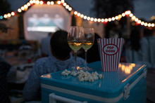 White Wine And Popcorn On Cool...