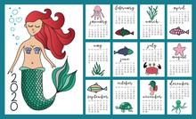 Little Mermaid And Marine Life...
