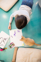Girl Drawing On Floor In Cat Cafe