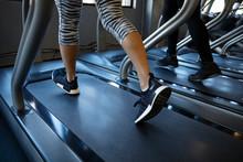 Legs Of Woman Walking On Tread...
