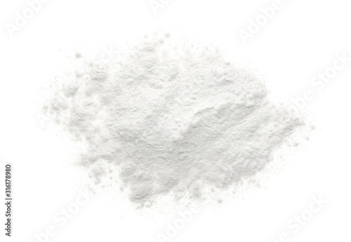 Cuadros en Lienzo Pile of organic flour isolated on white, top view