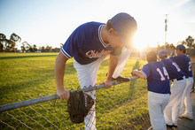 Baseball Player Climbing Over Fence On Sunny Field