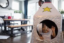 Cute Toddler Boy Inside Toy Spaceship