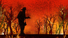 Firefighter At Center Of Fire ...