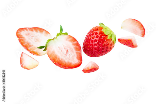 fly strawberry Fresh sliced piece . healthy fruit strawberry on white background isolated