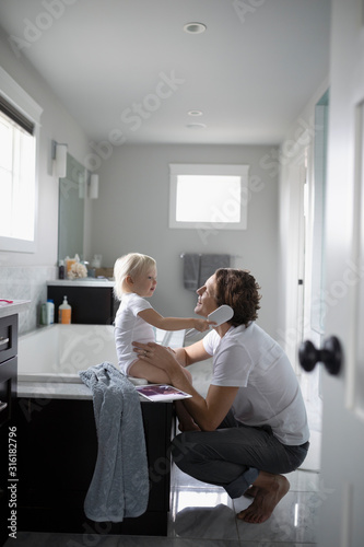 Cute Toddler Daughter Brushing Father S