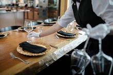 Female Waitress In White Glove...