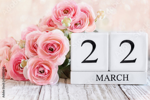 White wood calendar blocks with the date March 22nd for UK's Mother's Day and Mothering Sunday Canvas Print
