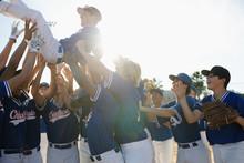 Happy Baseball Team Celebratin...