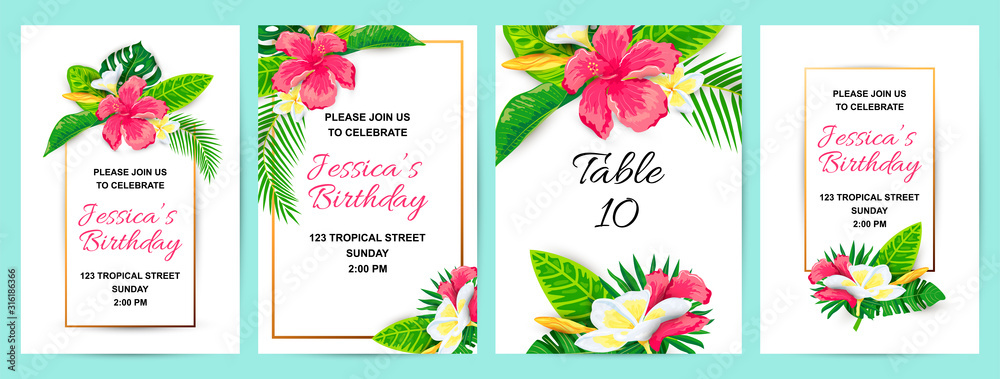 Fototapeta Invitations with tropical flowers, jungle leaves. Vector illustration summer templates. Place for text. Great for wedding, SPA flyer, beauty offer, poster, baby shower, bridal shower, tropical party.