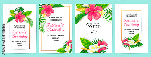 Photo Invitations with tropical flowers, jungle leaves
