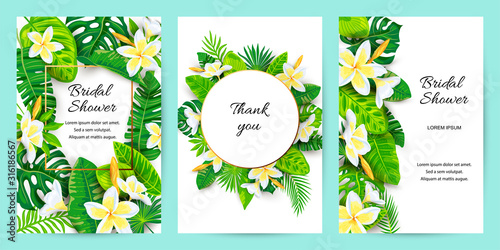 Invitations with jungle leaves, tropical flower Plumeria Wallpaper Mural