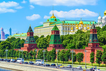 View On Kremlin Towers And Grand Kremlin Palace, Moscow, Russia