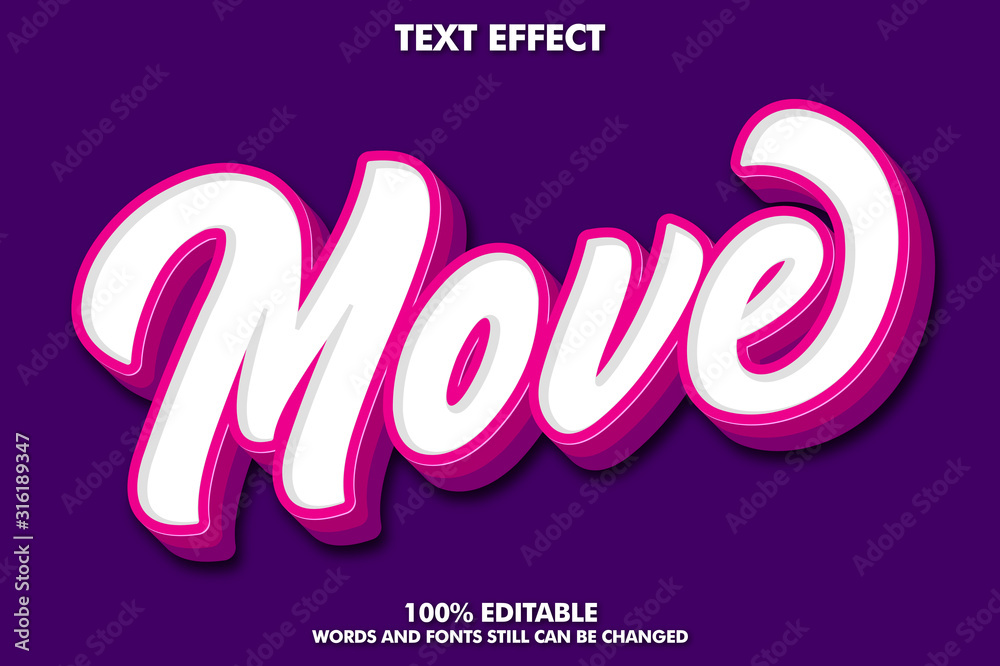 Fototapeta Modern brush text effect with pink extrude