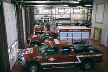 Fire Engines And Trucks Parked...