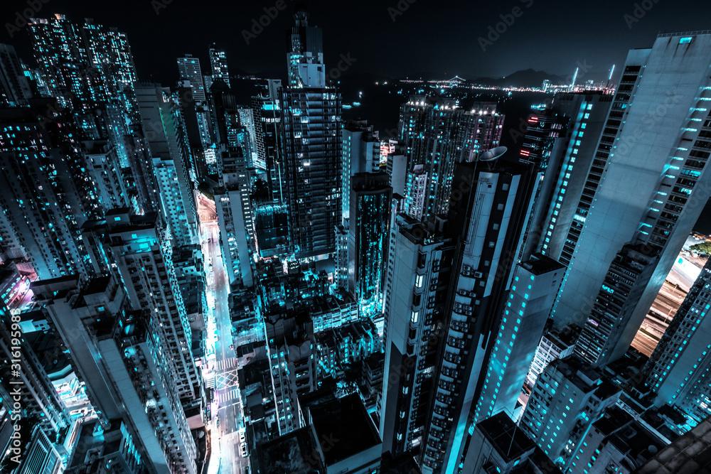 Fototapeta  skyscraper city skyline at night, business district of Hong Kong