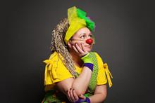 Woman Clown Dreaming Portrait....