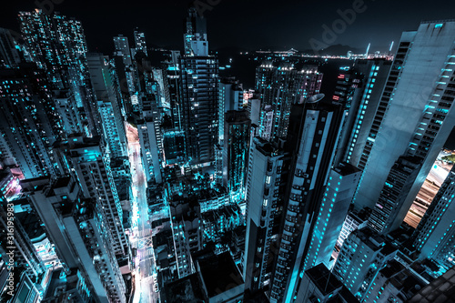 Fototapeta  skyscraper city skyline at night, business district of Hong Kong obraz