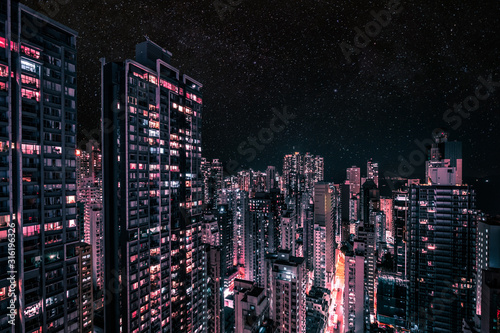 Photo modern skyscraper city skyline at night, business district cityscape of HongKong
