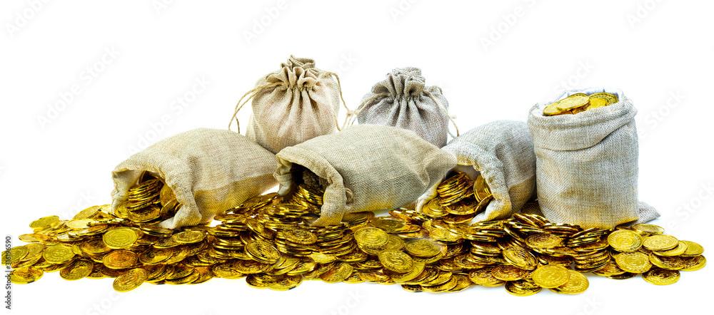 Fototapeta Stacking gold coin in treasure sack on white background