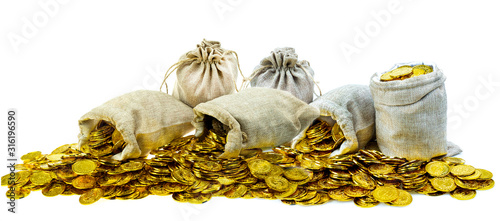 Fototapeta Stacking gold coin in treasure sack on white background obraz