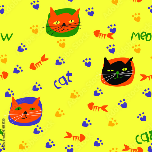 Seamless pattern with cats in a children's style. Cartoon cats. Each group of elements on a separate layer.