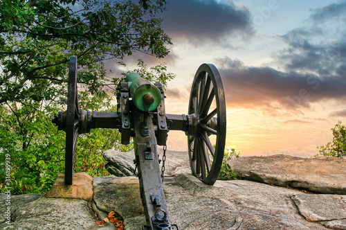 An old civil war cannon on a mountain fortification Canvas Print
