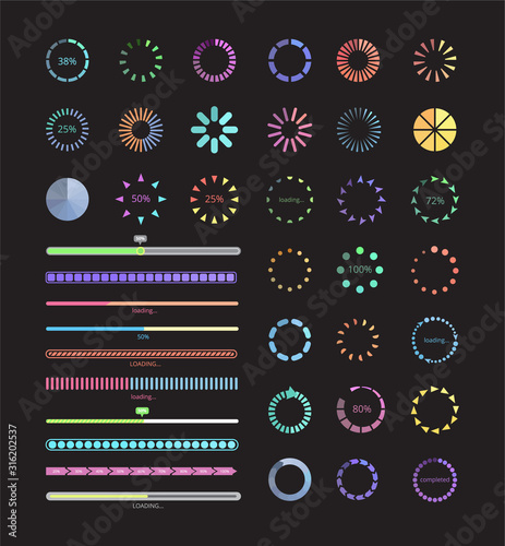 Collection of modern progress loaders and buffering elements vector illustration isolated. Fotomurales