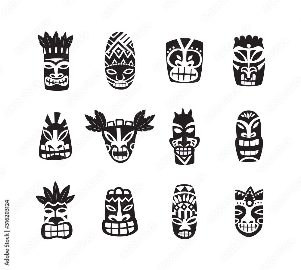 Fototapeta Black and white tiki mask drawing icon set isolated on white background