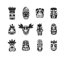 Black And White Tiki Mask Draw...